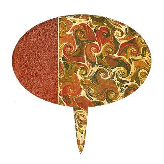 Elegant Antique Book, Ornate Swirl Pattern Cake Topper