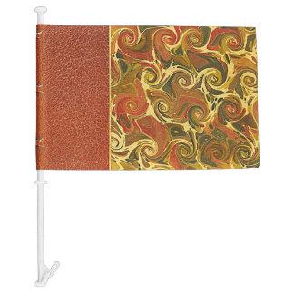 Elegant Antique Book, Ornate Swirl Pattern Car Flag