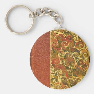 Elegant Antique Book, Ornate Swirl Pattern Keychain