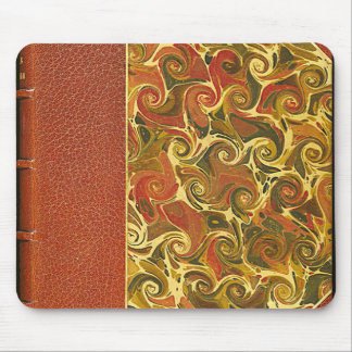 Elegant Antique Book, Ornate Swirl Pattern Mouse Pad