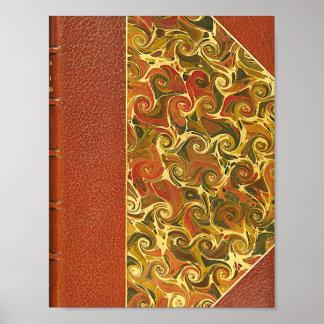 Elegant Antique Book, Ornate Swirl Pattern Poster