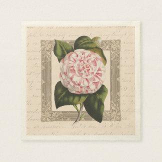 Elegant Antique Camellia Vintage Botanical Print Paper Napkin