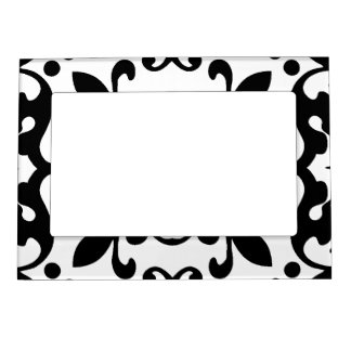 Elegant Antique Damask Black and White Pattern Magnetic Frame