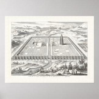 Elegant Antique Engraving Babylon Tower of Babel Poster