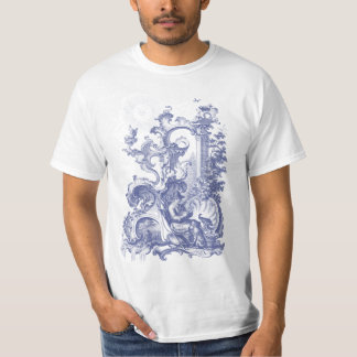 Elegant Antique Engraving Blue Toile Man and Dog T Shirt