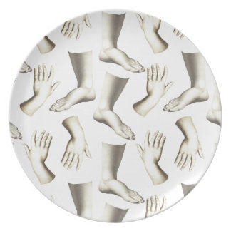 Elegant Antique Engraving Hands Feet Massage Party Plates