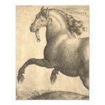 Elegant Antique Engraving of Spanish Horse Announcement