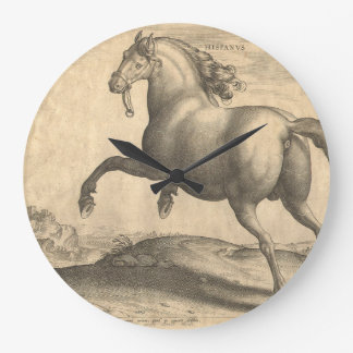 Elegant Antique Engraving of Spanish Horse Large Clock