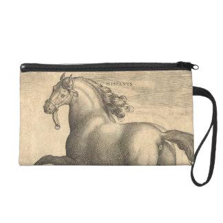 Elegant Antique Engraving of Spanish Horse Wristlet Purse