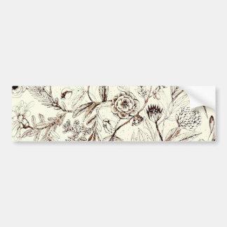 Elegant  Antique Floral Design Bumper Sticker