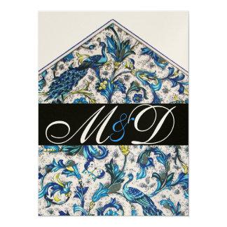 ELEGANT ANTIQUE FLORENTINE BLUE FLORAL MONOGRAM CARD