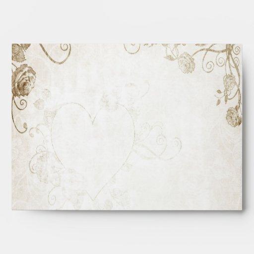 Elegant Antique Gold Vintage Wedding Envelope