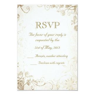 """Elegant Antique Gold Vintage Wedding RSVP Card 3.5"""" X 5"""" Invitation Card"""