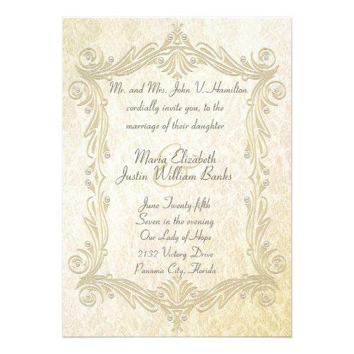 Elegant Antique Inspired Wedding Invitation
