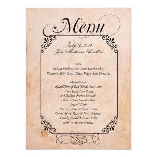 Elegant Antique Look Wedding Menu Card