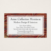 Elegant Antique Marbled Paper Burgundy and Gold Business Card