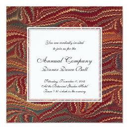 Elegant Antique Marbled Paper Burgundy and Gold Card