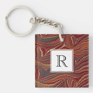 Elegant Antique Marbled Paper Burgundy and Gold Double-Sided Square Acrylic Keychain