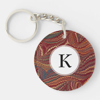 Elegant Antique Marbled Paper Burgundy and Gold Single-Sided Round Acrylic Keychain