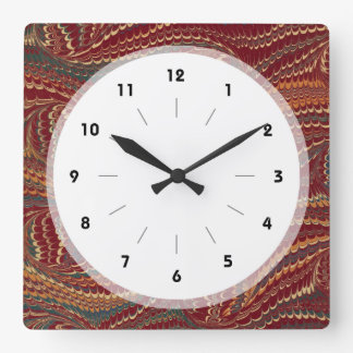 Elegant Antique Marbled Paper Burgundy and Gold Square Wall Clock