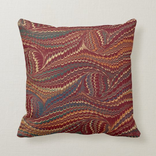 Elegant Antique Marbled Paper Burgundy And Gold Throw