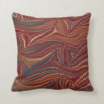 Elegant Antique Marbled Paper Burgundy and Gold Throw Pillow