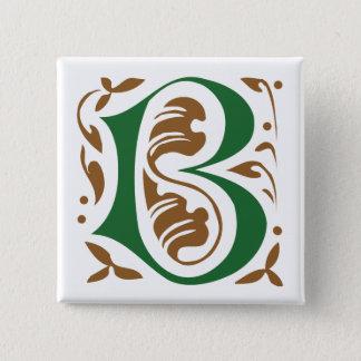 Elegant antique medieval letter B Pinback Button