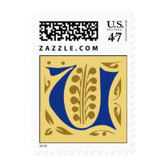 Elegant antique medieval letter U Postage