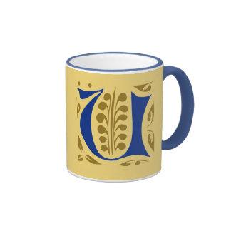 Elegant antique medieval letter U Ringer Mug