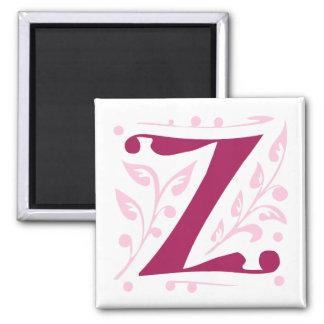 Elegant antique medieval letter Z 2 Inch Square Magnet