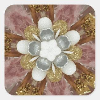 Elegant Antique Pink Silver Gray Gold White Flower Square Sticker