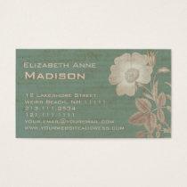 Elegant Antique Rose Vintage Verdigris Patina Business Card
