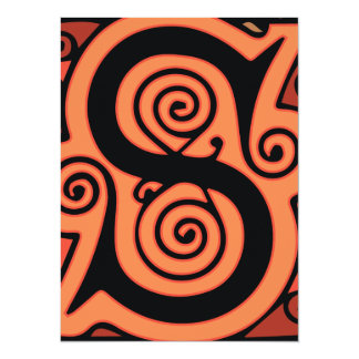 Elegant Antique S Medieval Letter in Bright Orange Card
