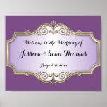 Elegant Antique Satin Wedding Welcome Poster