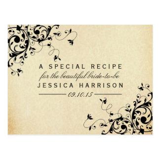 Elegant Antique Swirls Bridal Shower Recipe Cards