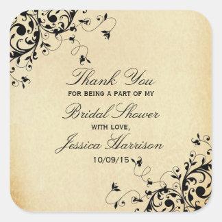 Elegant Antique Swirls Bridal Shower Thank You Square Sticker