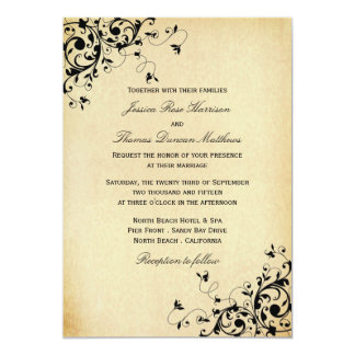 Elegant Antique Swirls Wedding Invitations