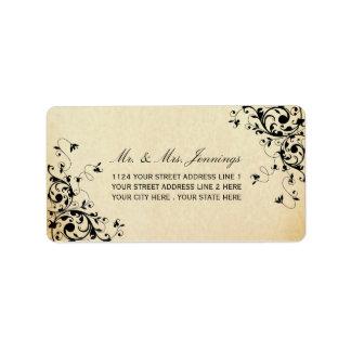 Elegant Antique Swirls Wedding Labels