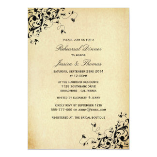 Elegant Antique Swirls Wedding Rehearsal Dinner 5x7 Paper Invitation Card