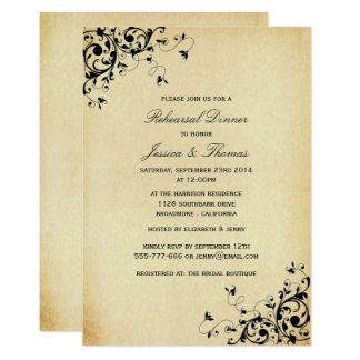 Elegant Antique Swirls Wedding Rehearsal Dinner Card