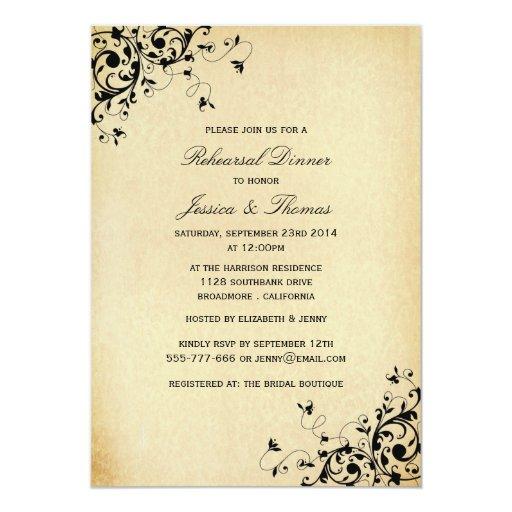 Elegant Antique Swirls Wedding Rehearsal Dinner Card