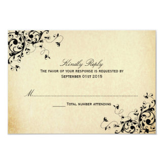 Elegant Antique Swirls Wedding RSVP Cards