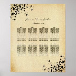 Elegant Antique Swirls Wedding Seating Chart Poster
