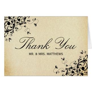 Elegant Antique Swirls Wedding Thank You Card