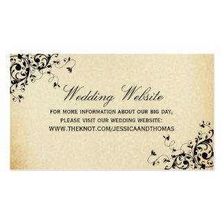 Elegant Antique Swirls Wedding Website Business Card