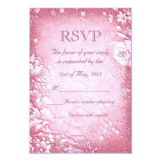 Elegant Antique Vintage Pink Floral Wedding RSVP 3.5x5 Paper Invitation Card