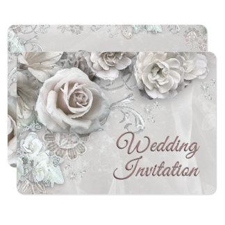 Elegant Antique White Roses Wedding Invitation