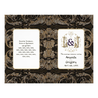 "Elegant Antiqued Gold Baroque, Wedding Program 8.5"" X 11"" Flyer"