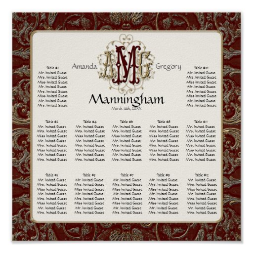 Elegant Antiqued Gold Monogrammed Wedding Seating Poster