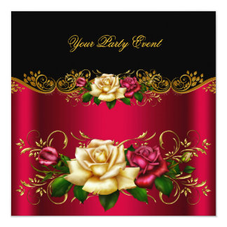 Elegant Any Event Party Gold Pinky Red Cream Roses Card